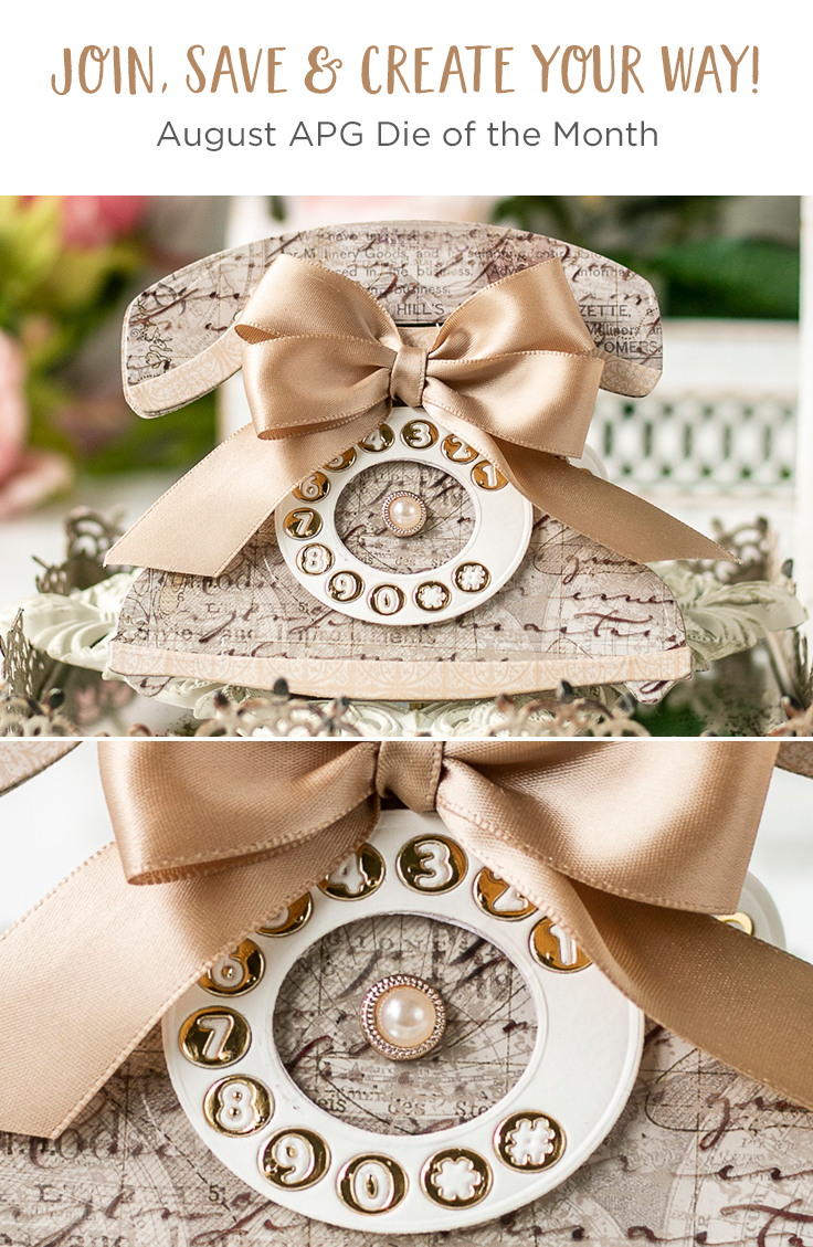Spellbinders August 2020 Amazing Paper Grace Die of the Month is Here – Pop Up 3D Vignette Telephone #SpellbindersClubKits #Spellbinders #NeverStopMaking #Cardmaking #DieCutting #AmazingPaperGraceClubKit