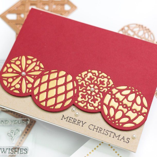 The Spellbinders Christmas Project Kit | Cardmaking Inspiration with Jennifer Bolton | Video tutorial | Christmas Ornaments Card #Spellbinders #NeverStopMaking #Cardmaking #Diecutting #Christmascardmaking
