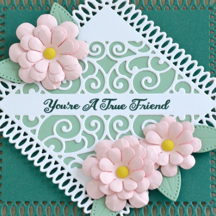 Spellbinders Becca Feeken Picot Petite Collection - Cardmaking Inspiration with Annie Wiliams. Square Friendship Card #Spellbinders #NeverStopMaking #AmazingPaperGrace #DieCutting #Cardmaking