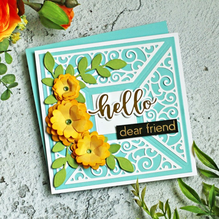 Spellbinders Becca Feeken Picot Petite Collection - Cardmaking Inspiration with Sandi MacIver - Picot Petite Filigree Quartet Etched Dies #Spellbinders #NeverStopMaking #AmazingPaperGrace #DieCutting #Cardmaking