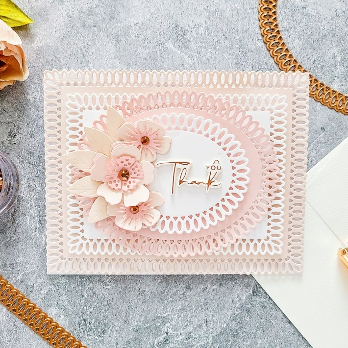 Spellbinders Becca Feeken Picot Petite Collection - Cardmaking Inspiration with Yasmin Diaz. A6 Landscape Thank You Card #Spellbinders #NeverStopMaking #AmazingPaperGrace #DieCutting #Cardmaking