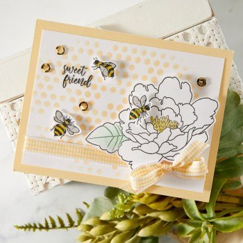 Handmade greeting card featuring FSJ Buzzworthy Collection