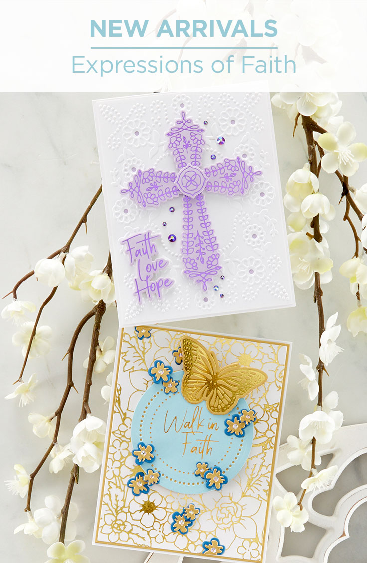 What's New at Spellbinders | Expressions of Faith Collection - includes a beautiful etched die cross, a Glimmer and die Cross set and lastly, a lovely Glimmer faith-based sentiment set. Ideal for holiday cards, baptisms, sympathy cards, Easter and more.