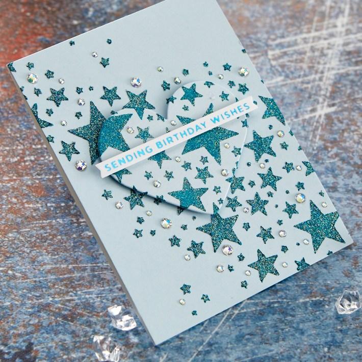 Introducing Spellbinders STN-001 Layered Full Moon & STN-002 Star Bright Stencils #Spellbinders #NeverStopMaking
