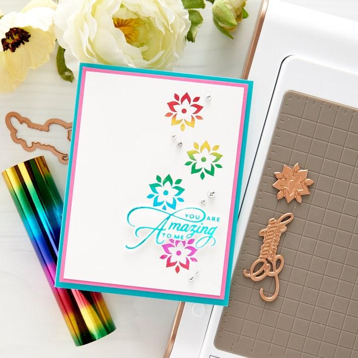 Two Tones Hot Foil Techniques + Elegant Becca Feeken Clear Card   Spellbinders Live