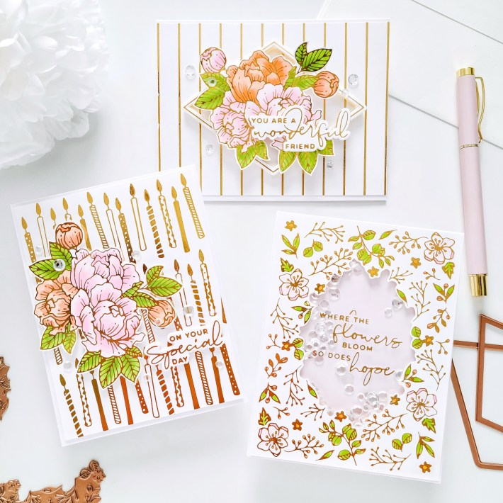 Trio of Birthday Cards with Yana's Blooming Birthday Collection with Yasmin Diaz