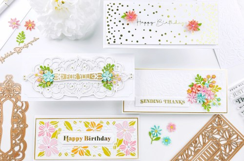 Slimline Card Ideas with Slimline collection and Yasmin Diaz