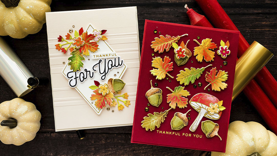 October 2021 Glimmer Hot Foil Kit of the Month Preview & Tutorials – Glimmering Autumn Woods
