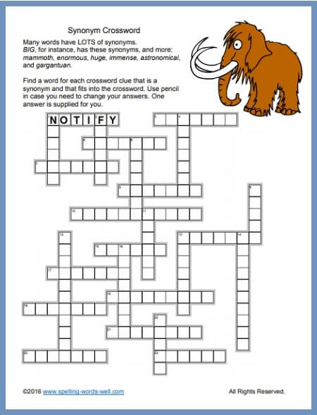 Crossword Printable Puzzle for Challenging Word Play!