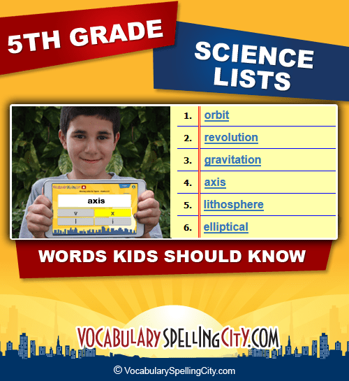 5th Grade Science Vocabulary Words  Fifth Grade Science