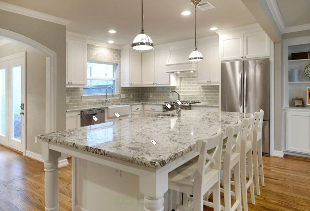 kitchen, white cabinets, granite counters, wood floors