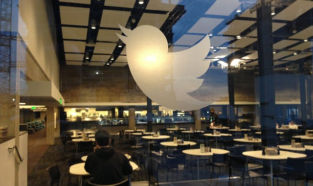 The Twitter stock price surged on reports Google and Salesforce are considering bids.