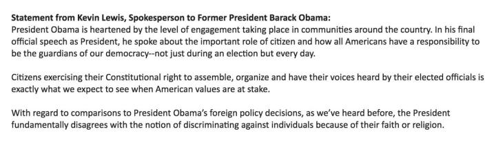 Former US President Obama Releases Statement On Trump Executive Order