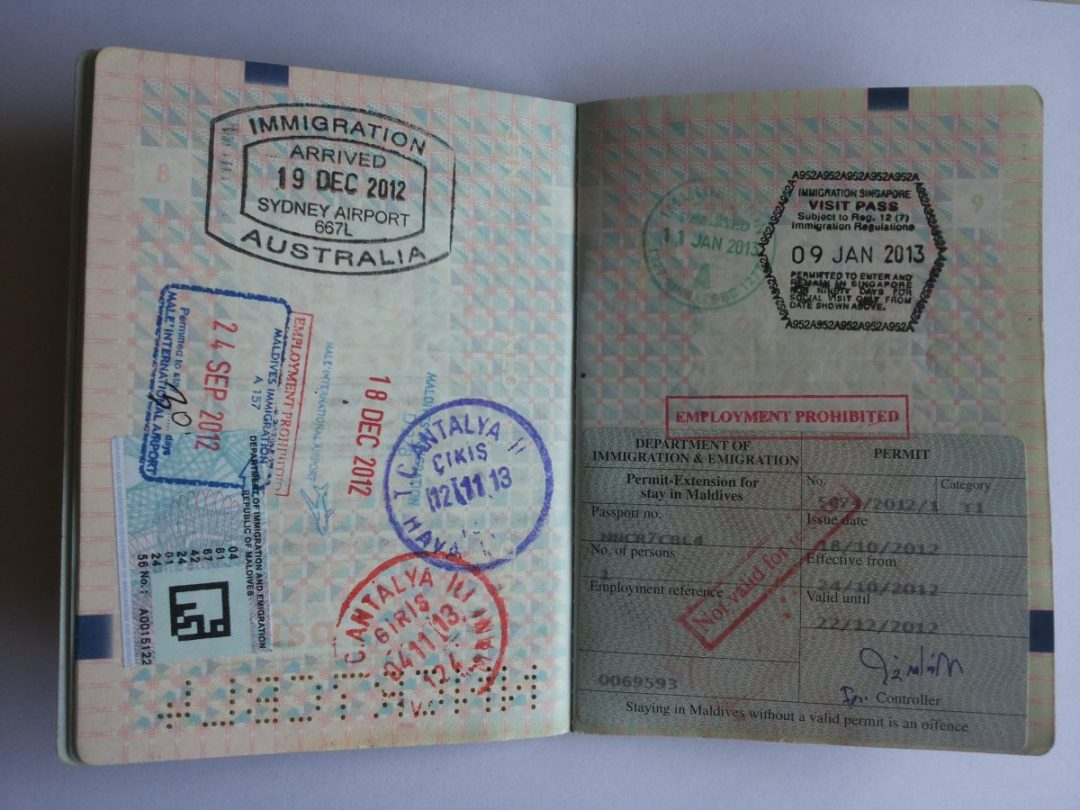 Collecting passport stamps - travelling the world