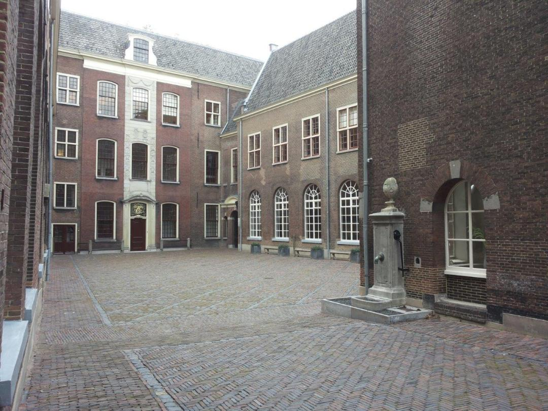 courtyard of a 1583 orphanage in Leiden
