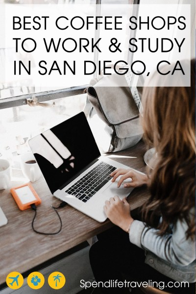 8 Best Coffee Shops To Work / Study in San Diego. Do you work remotely? Are you a digital nomad? Or are you just looking for a cozy coffee shop in San Diego to get some studying done. Don't settle for a Starbucks, check out these great coffee shops in San Diego with good coffee and wifi that make great locations for working remotely! #SanDiego #digitalnomad #workremotely #workonline