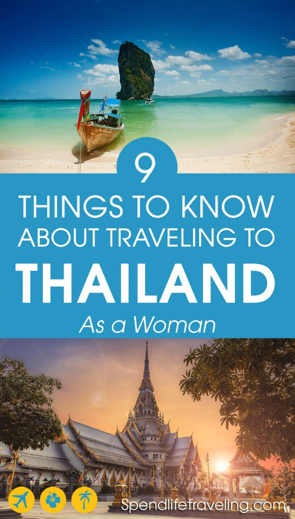 Is #Thailand a safe country to visit for both men and women? Yes, it is. But check out these useful things to know about traveling in Thailand. Some tips specifically for female travelers, some general tips for traveling in Thailand. #travelsafety #travelAsia #travelThailand