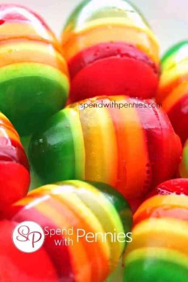 multi colored jello easter eggs
