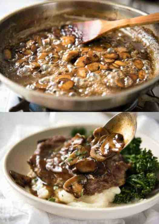 glazed mushroom pork chops and mushrooms sizzling in pan and being served over mashed potatoes