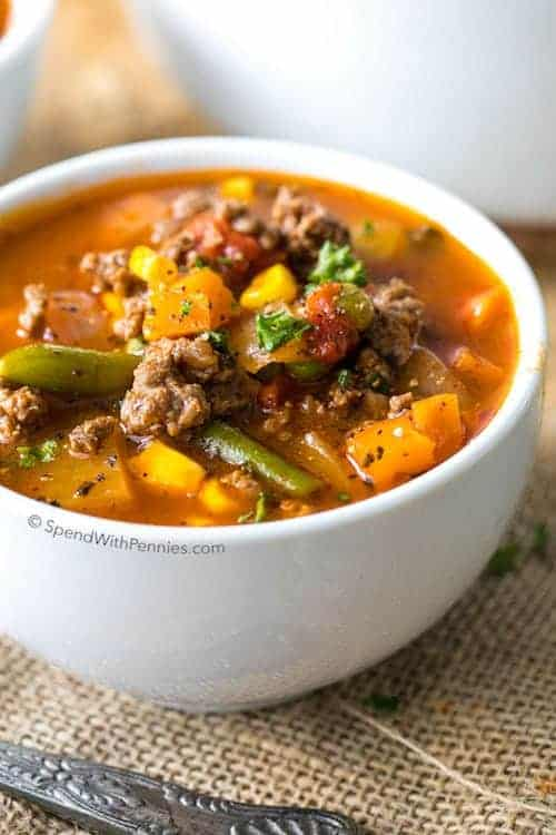 Easy Hamburger Soup Recipe | Spend With Pennies - Hamburger Soup is a quick and easy meal loaded with vegetables, lean beef, diced tomatoes and potatoes. It's great made ahead of time, reheats well and freezes perfectly.