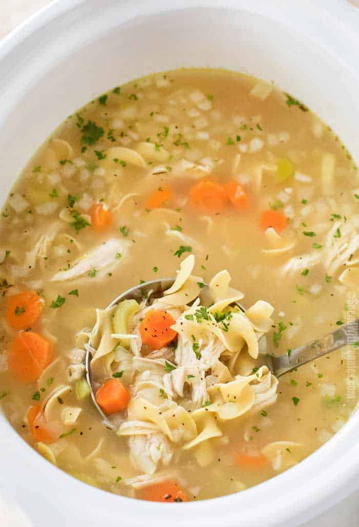 crock pot chicken noodle soup, slow cooker chicken recipes,
