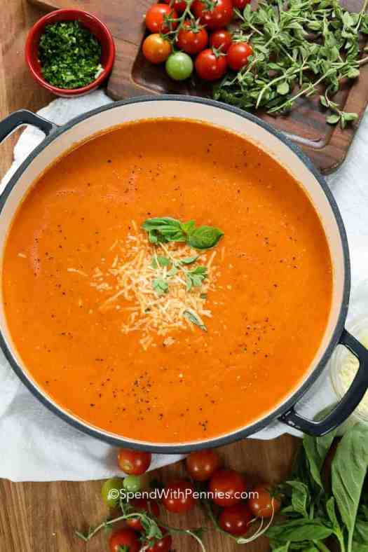 A large pot of homemade Tomato Soup