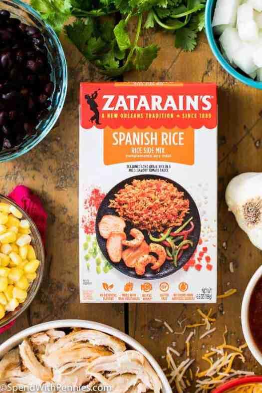 Zatarians Spanish Rice surrounded by other fresh ingredients to make salsa chicken casserole.