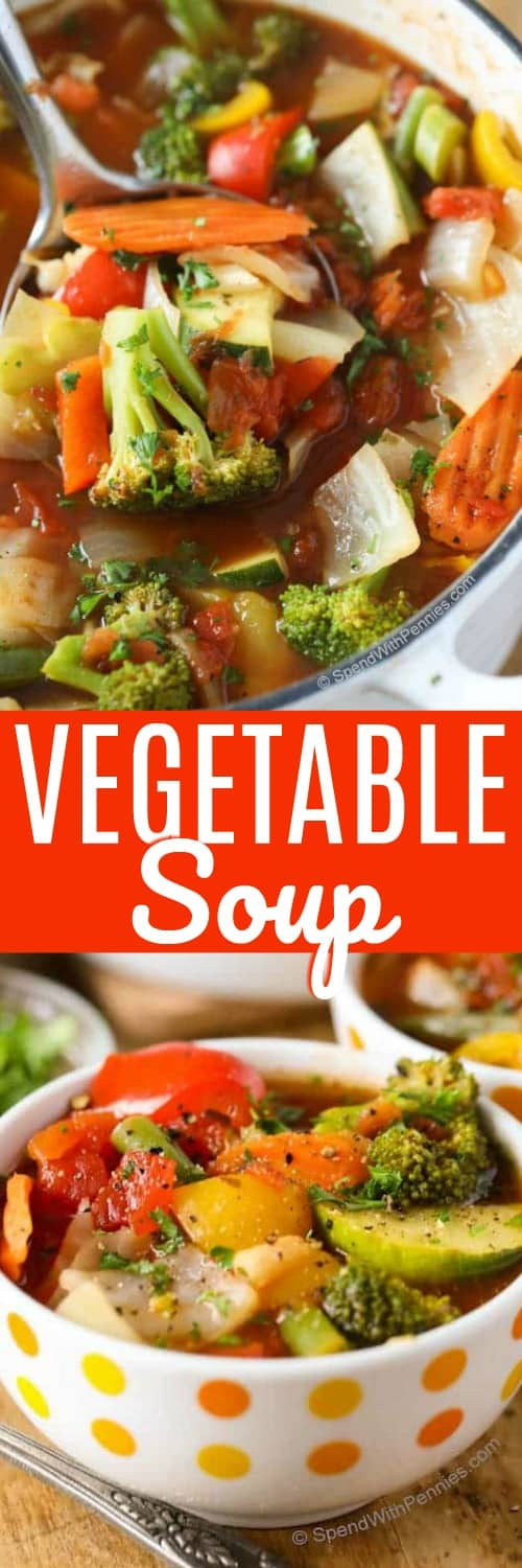 Weight Loss Vegetable soup is delicious, healthy and filling!  It's easy to make and perfect for lunch or afternoon snack. #spendwithpennies #vegetablesoup #easyrecipe #weightloss #easysouprecipe #easylunch #starter #newyears