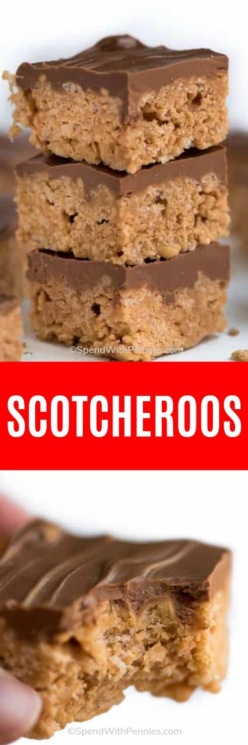 Scotcheroos are a quick and easy no bake dessert that needs just six ingredients and ten minutes to make! These are made with Special K cereal loaded with peanut butter and butterscotch flavor, and are a definite crowd pleaser.#spendwithpennies #scotcheroos #easyrecipe #easydessert #butterscotch #cereal