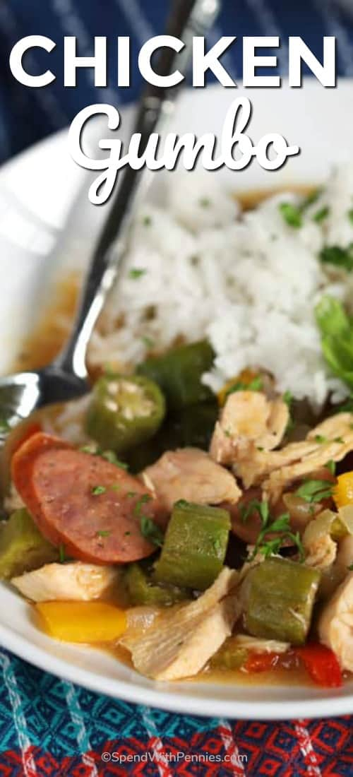 This Easy Chicken Gumbo recipe is vibrant, spicy and simmered to perfection! This delicious combination of chicken, sausage, okra and veggies is cooked in a creamy creole spiced broth that is just pure comfort food. #spendwithpennies #chickengumbo #easyrecipe #easygumbo #gumborecipe #southernrecipe #creole #gumbodinner