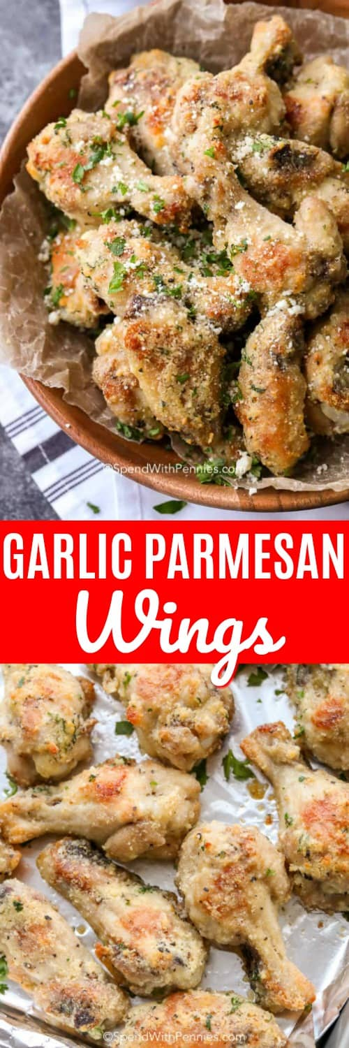 These garlic parmesan wings are perfect for wing night. These oven baked wings are deliciously tender with a crispy exterior! #spendwithpennies #garlicparmesanwings #garlicparmesanchickenwings #chickenwings #garlicwings #wings #chickenwingsrecipe #wingsrecipe