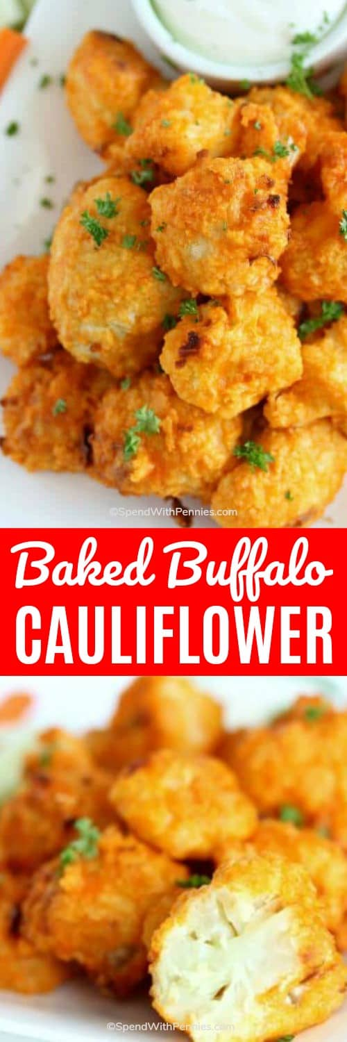 These easy homemade buffalo cauliflower bites are simple, delicious, and great for parties. We love making this healthy recipe when we are entertaining! #spendwithpennies #buffalo #cauliflower #buffalocauliflower #bakedbuffalocauliflower #bakedcauliflower