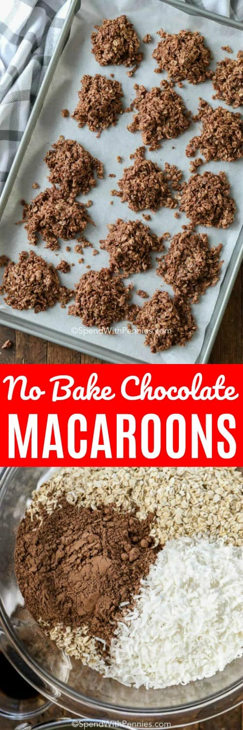 These delicious no bake chocolate macaroons are filled with coconut, no bake, and are kid friendly. We absolutely love making these! #spendwithpennies #chocolatemacaroons #macaroons #coconutmacaroons #nobake #nobakemacaroons