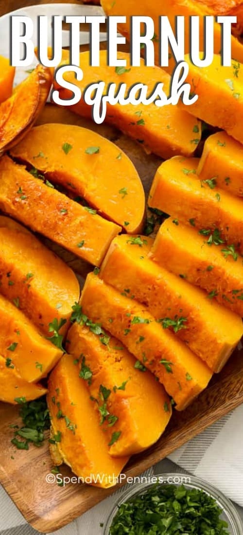 This baked butternut squash is made in the oven with butter, cinnamon, and brown sugar to create an easy fall side dish that takes almost no prep. We love easy butternut squash in the oven with roast dinner! #spendwithpennies #squash #bakedbuternutsquash #roastedsquash #butternutsquash #easybutternutsquash #ovenbakedsquash #bakedsquash