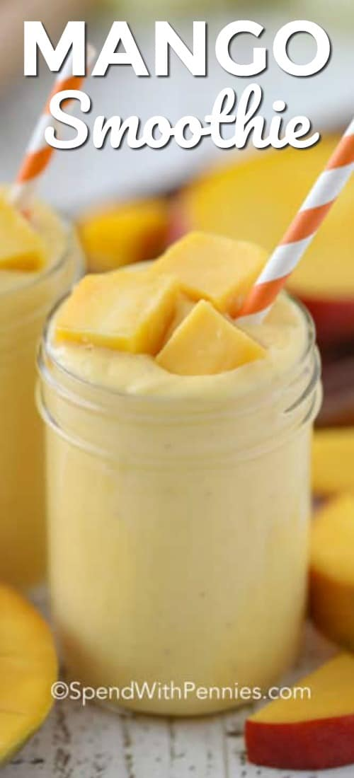 I love starting my day with this easy mango smoothie recipe. It's a healthy and delicious start to the day!#spendwithpennies #mangosmoothie #mangosmoothies #smoothies #smoothie #smoothierecipe #mangosmoothierecipe