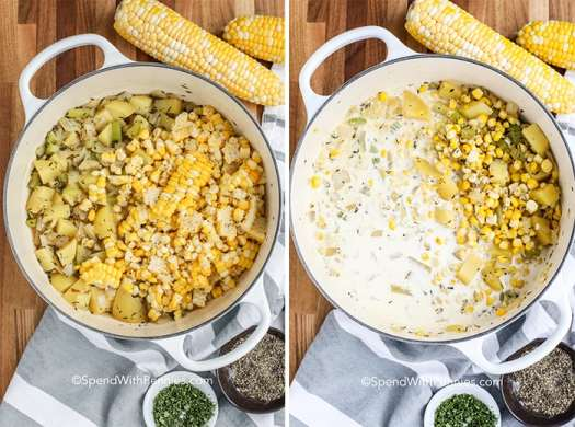 Two images showing the steps to prepare corn chowder.
