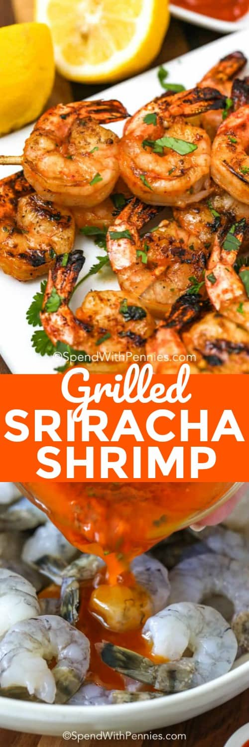 We love making this sriracha grilled shrimp with honey recipe for salads or shrimp tacos. It's a delicious grilled shrimp recipe that everyone loves! #spendwithpennies #srirachagrilledshrimp #grilledshrimp #srirachashrimp #sriracha #shrimp #grilled