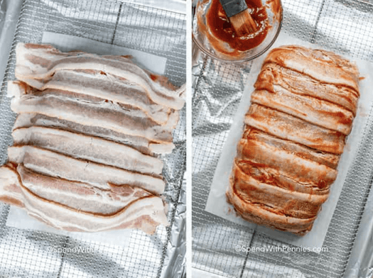 Steps for making a bacon wrapped meatloaf including wrapping with bacon and brushing with sauce