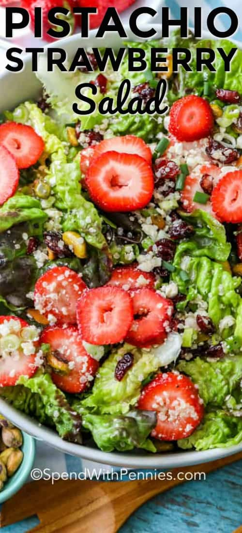 This pistachio strawberry salad recipe is a fresh, healthy, and delicious summer salad that will outshine any main dish. We love this easy side salad! #spendwithpennies #pistachio #strawberry #strawberrysalad #pistachiostrawberrysalad #salad #saladrecipe #easysalad #vinaigrette