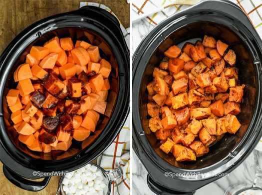 Two images showing cubed sweet potatoes topped with a brown sugar sauce when raw and when cooked.