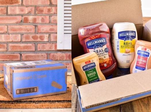 Two images - a box from walmart.com on the doorstep, and the box opened filled with Hellmans products.