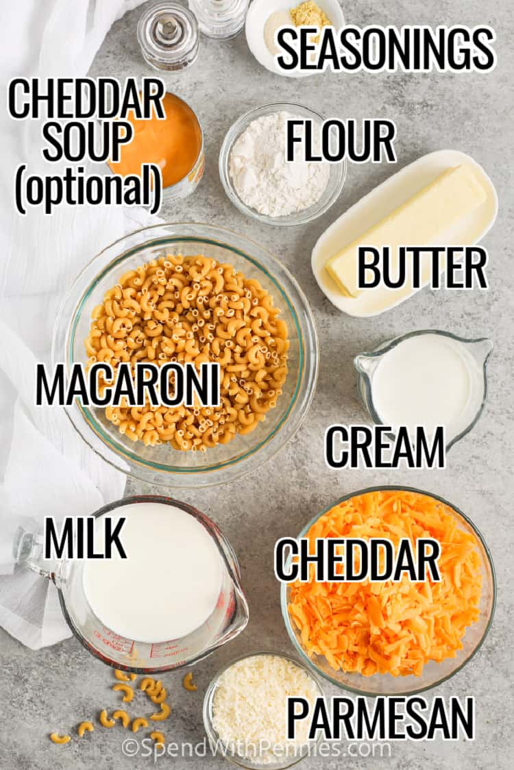 ingredients to make Homemade Mac and Cheese Casserole