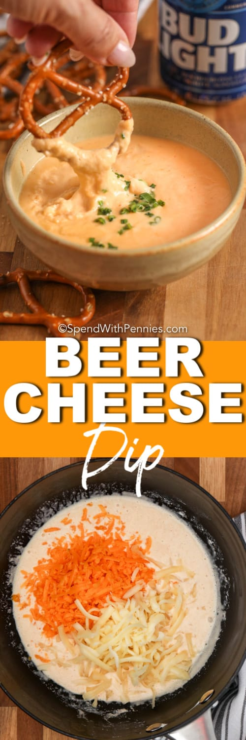 Top image - a pretzel being dipped into warm beer cheese dip. Bottom image - shredded cheese being stirred into warm beer cheese dip.