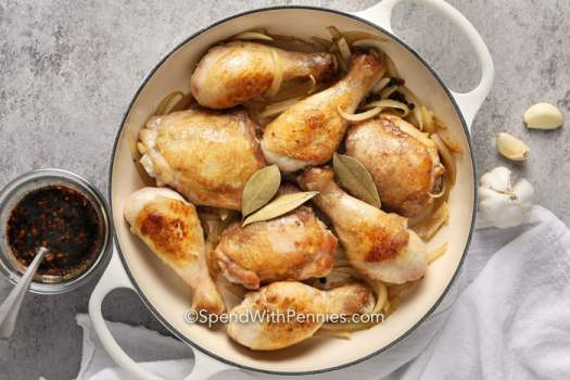 Chicken browned for Chicken Adobo