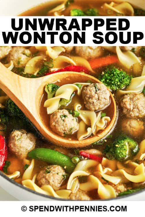 Unwrapped wonton soup being served with writing