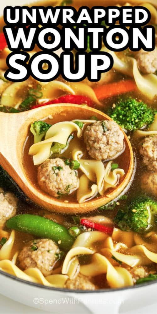 Unwrapped wonton soup with veggies being served with text.