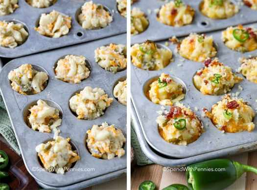 Two images showing the mac and cheese bites prepared in a mini muffin tin before and after being baked.