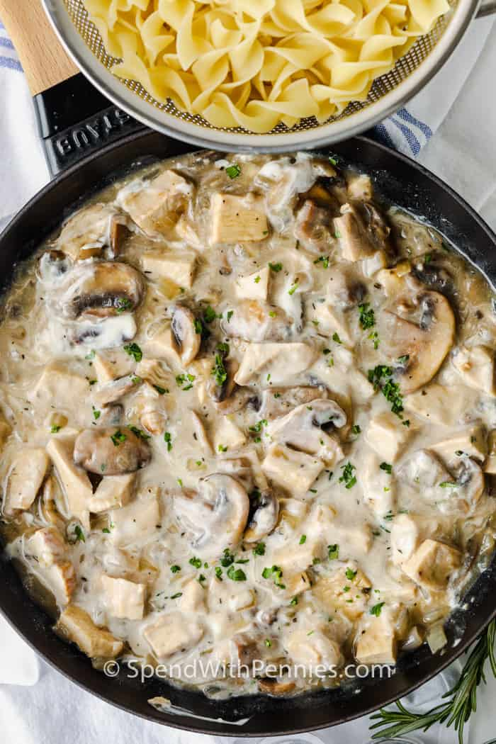 Herbed Turkey Stroganoff in the pan with noodles beside it