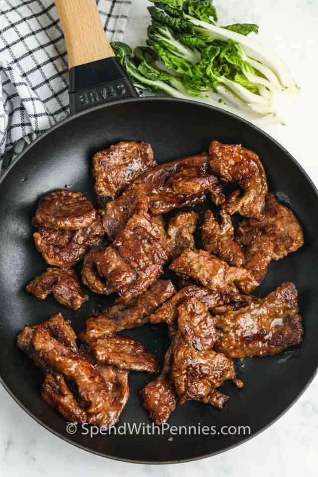 cooking beef to make Beef & Bok Choy Stir Fry