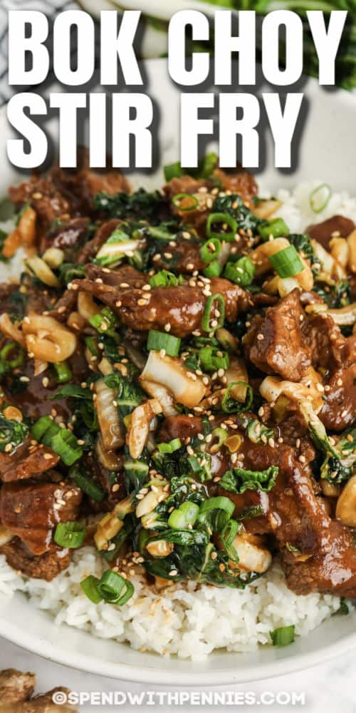 plated Beef & Bok Choy Stir Fry with a title